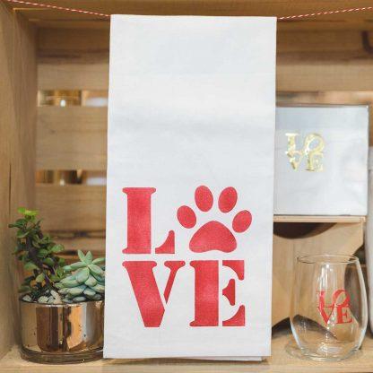 Pawprint LOVE Tea towel