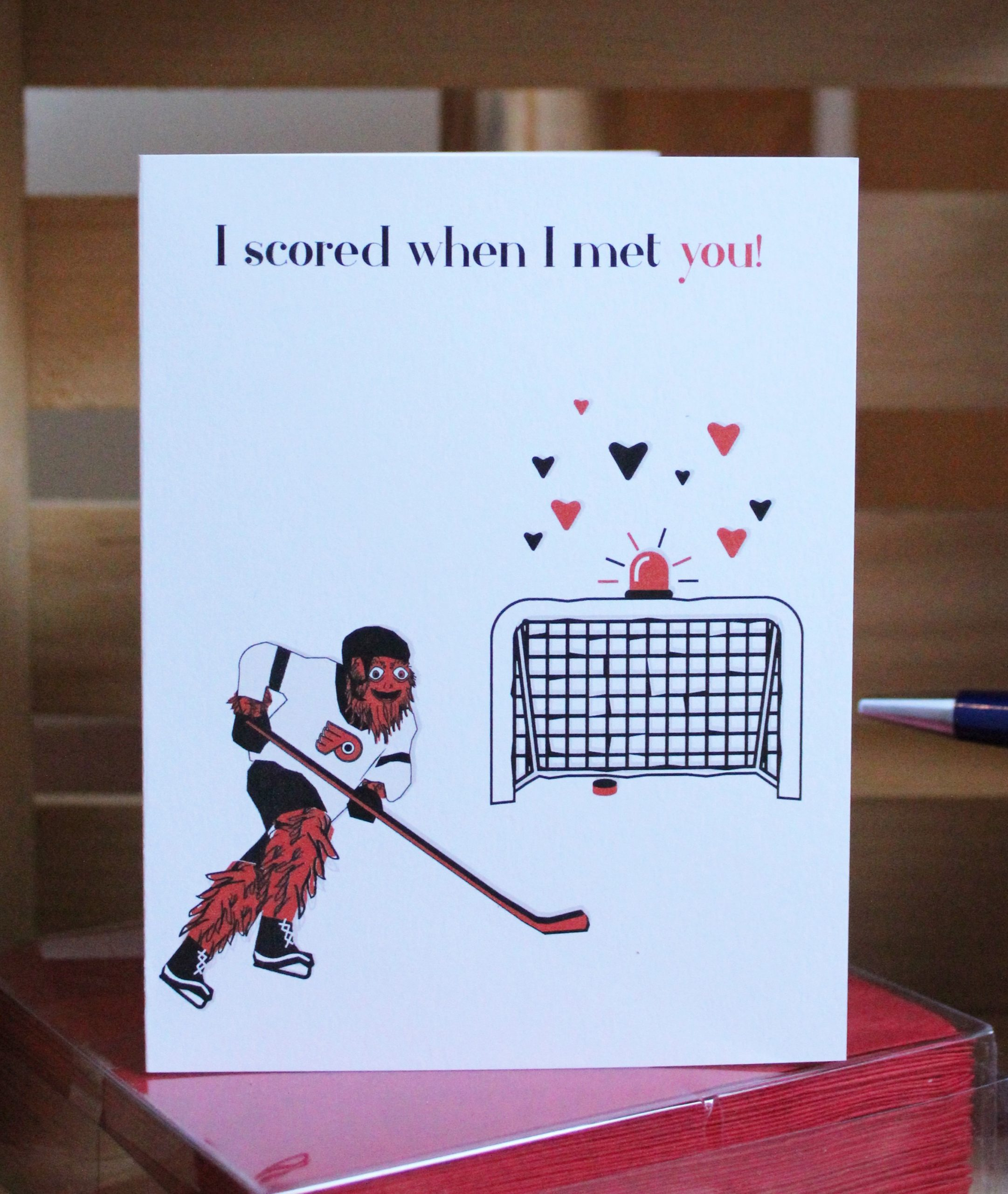 gritty love card  paper on pine gritty love card