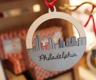 Philadelphia Skyline Wooden Ornament