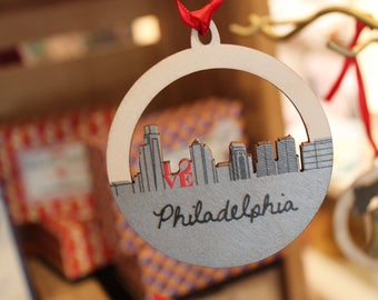 Philadelphia Skyline Wooden Ornament