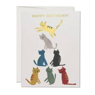 Gold Kitty Birthday card