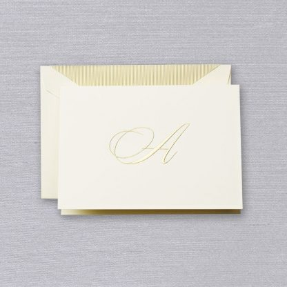 """Engraved """"A"""" Initial Notecards"""