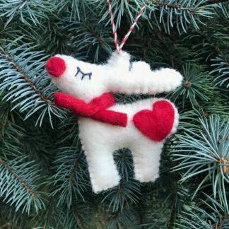 White Reindeer Ornament