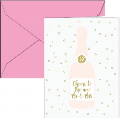 """Cheers to the new Mr. and Mrs"" Champagne Bottle Card"