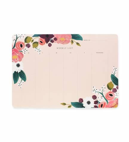 Pink Floral Weekly Desk Pad